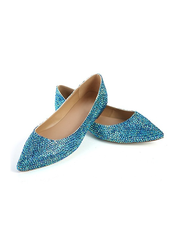 Closed Toe Flat Heel Sheepskin With Sequin Flat Shoes