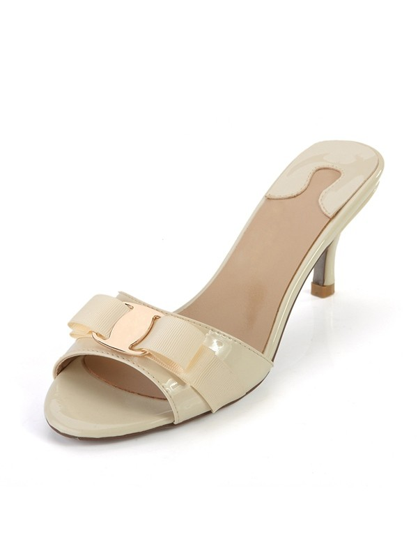 Peep Toe Patent Leather Cone Heel Sandals Shoes