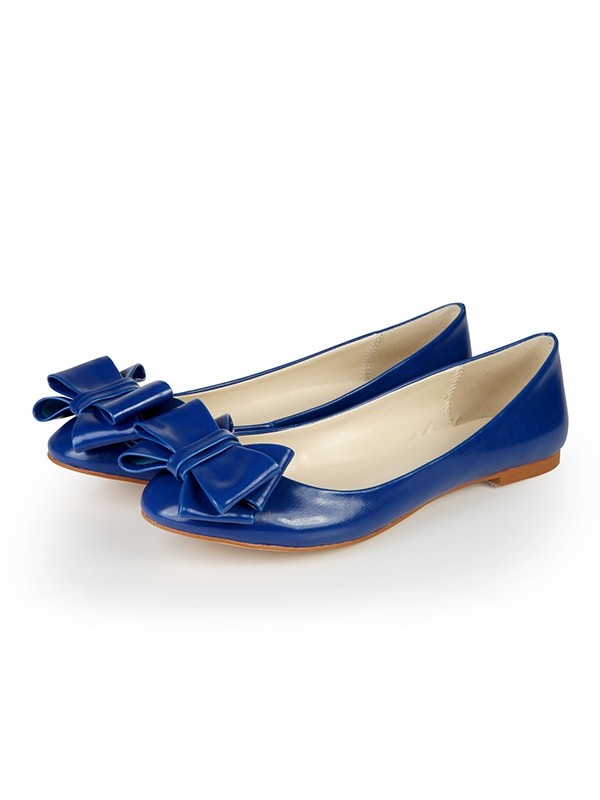 Flat Heel Sheepskin Closed Toe With Bowknot Flat Shoes