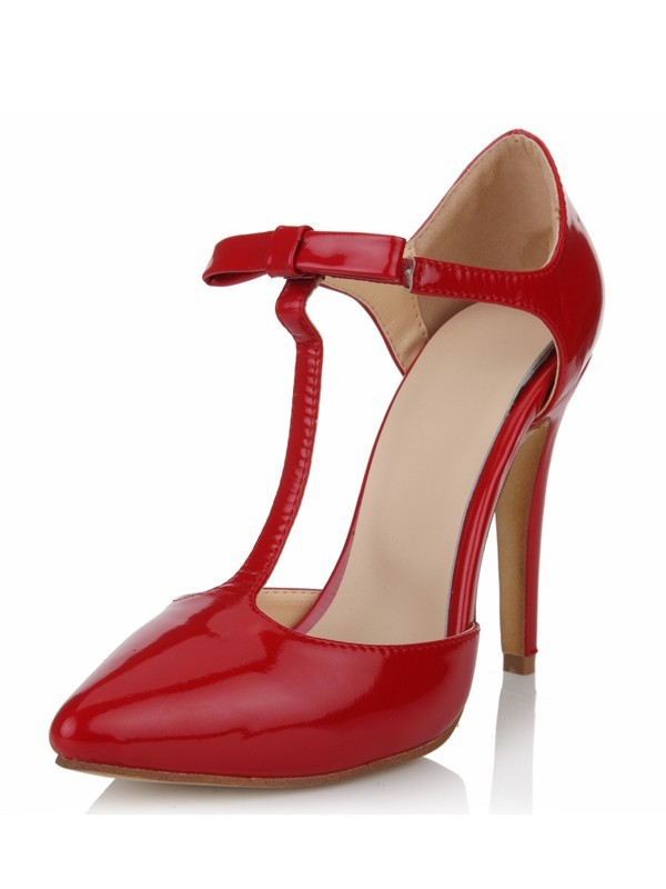 Patent Leather Stiletto Heel Closed Toe T-Strap High Heels