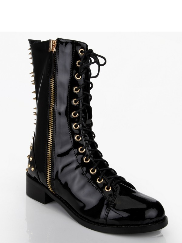 Patent Leather Chunky Heel With Rivet Mid-Calf Black Boots
