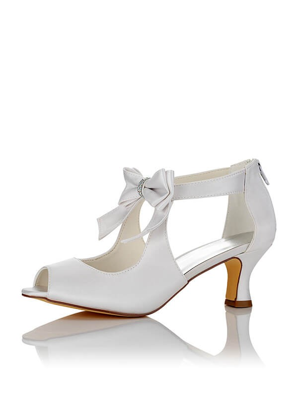 Satin PU Peep Toe Spool Heel Wedding Shoes