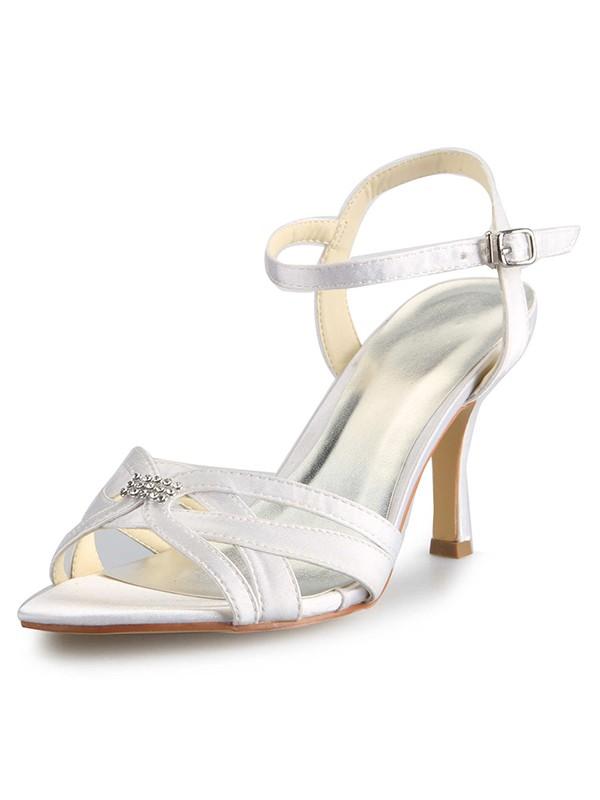 Satin Stiletto Heel Peep Toe With Rhinestone Buckle Dance Shoes