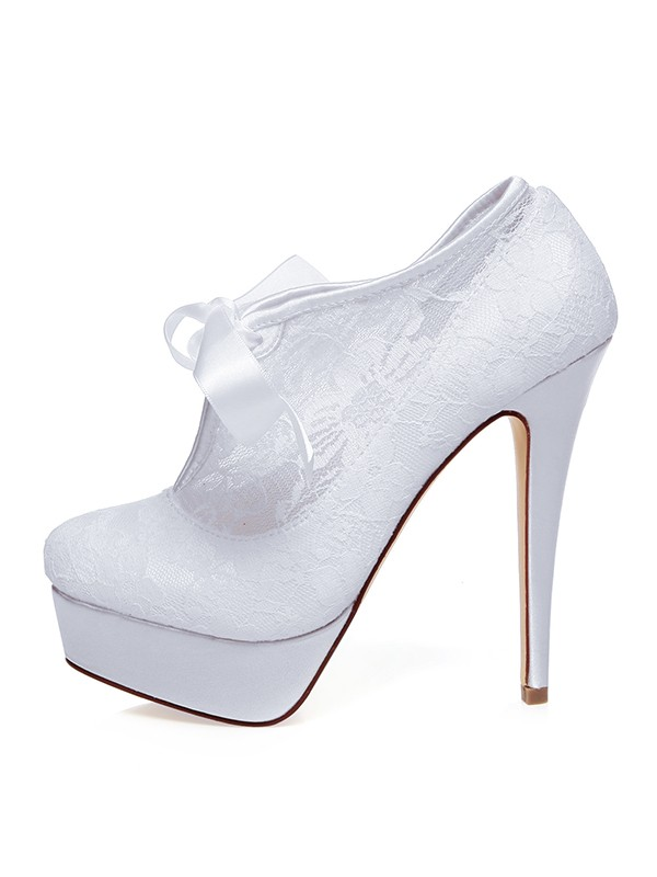 Satin Closed Toe Silk Stiletto Heel Wedding Shoes