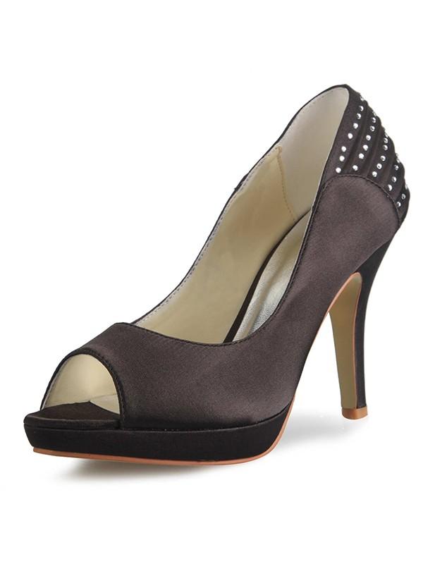 Satin Cone Heel Platform Peep Toe With Rhinestone Platforms Shoes
