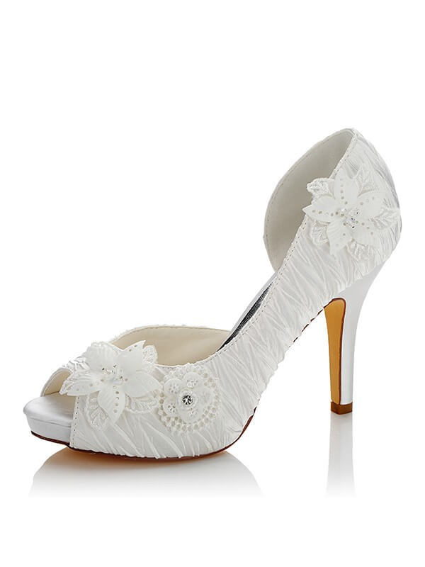Satin PU Peep Toe Stiletto Heel Wedding Shoes
