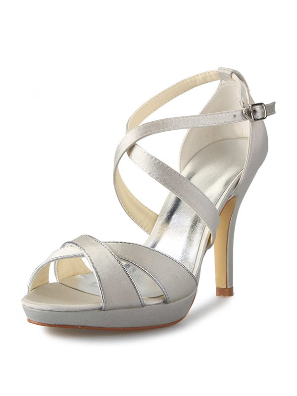 Satin Stiletto Heel Platform Peep Toe With Buckle Dance Shoes
