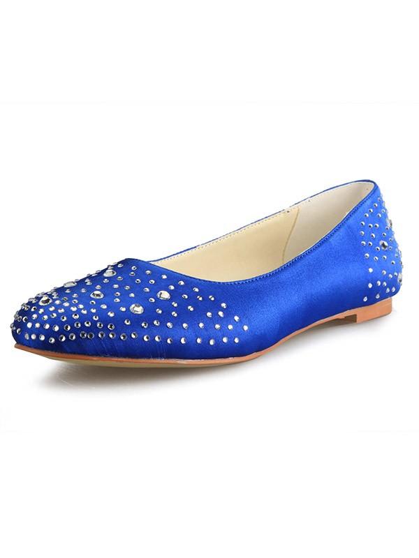 Flat Heel Satin Closed Toe With Rhinestone Flat Shoes