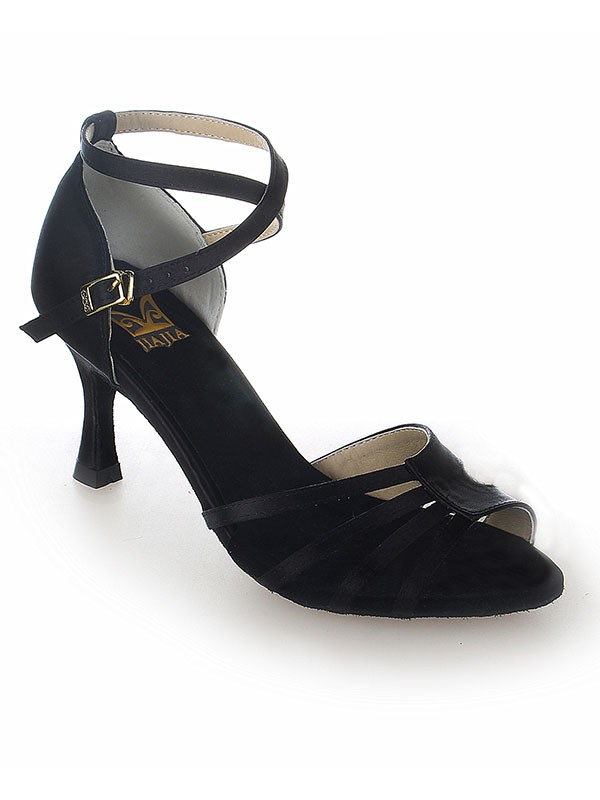 Peep Toe Satin Stiletto Heel Buckle Dance Shoes