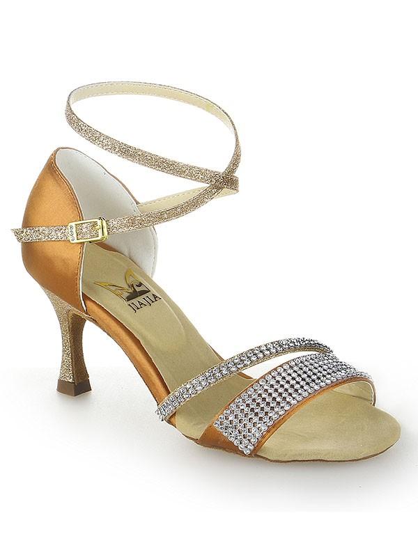 Stiletto Heel Peep Toe Satin Buckle Dance Shoes