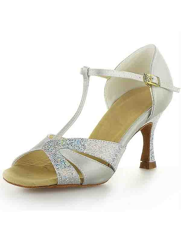 Satin Stiletto Heel Peep Toe Buckle Sparkling Glitter Dance Shoes
