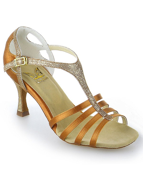 Peep Toe Buckle Stiletto Heel Satin Dance Shoes