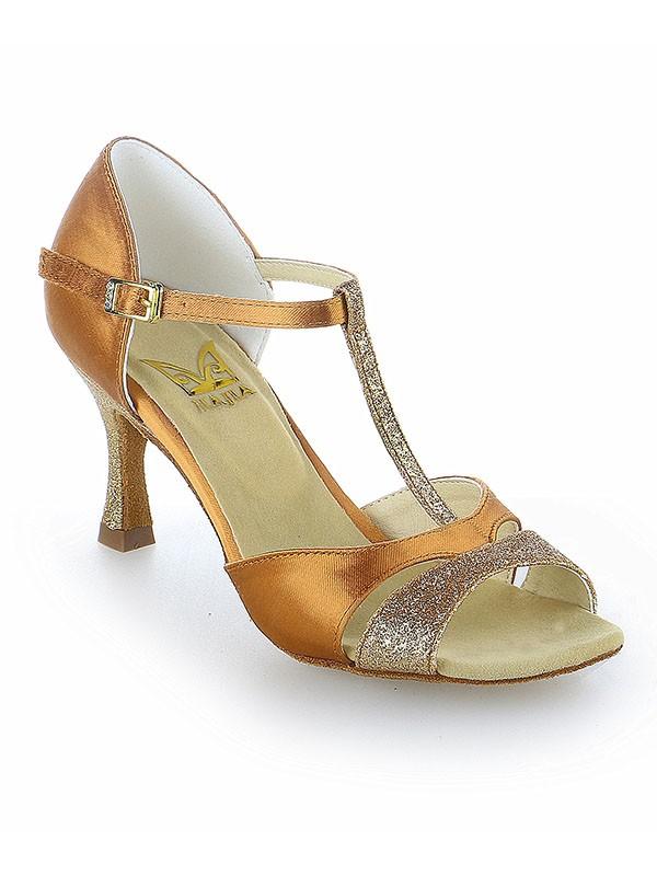 Satin Peep Toe Buckle Stiletto Heel Dance Shoes