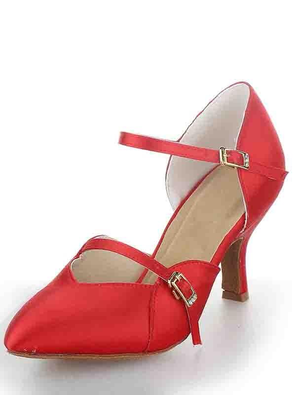 Stiletto Heel Satin Closed Toe Buckle Dance Shoes