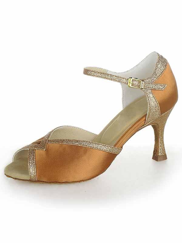 Stiletto Heel Satin Peep Toe Sparkling Glitter Dance Shoes