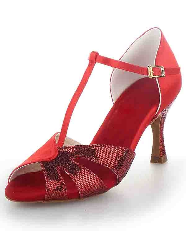T-Strap Peep Toe Stiletto Heel Satin Sparkling Glitter Dance Shoes
