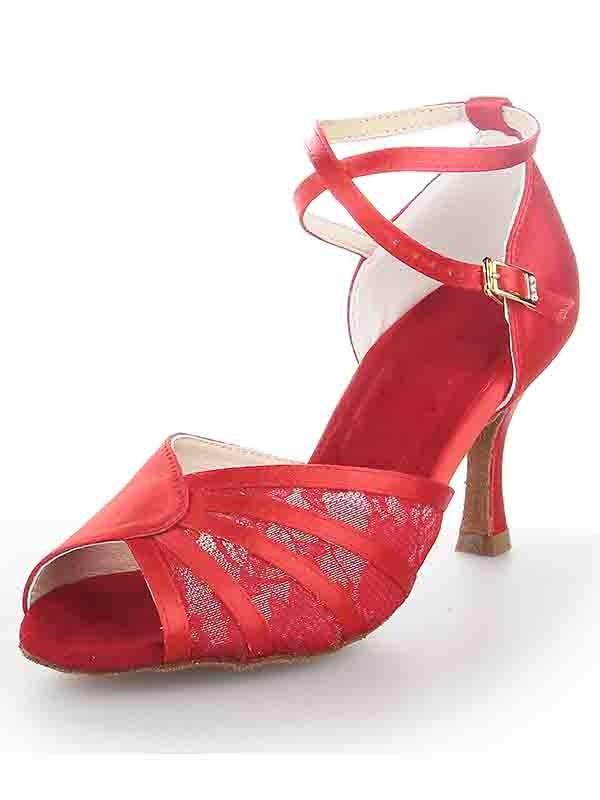 Stiletto Heel Satin Peep Toe Buckle Dance Shoes