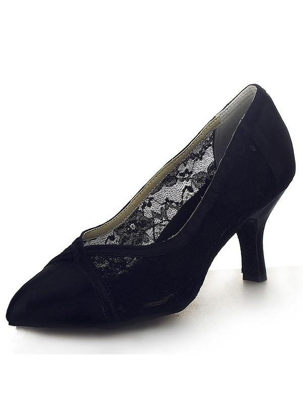 Closed Toe Satin Cone Heel Office High Heels