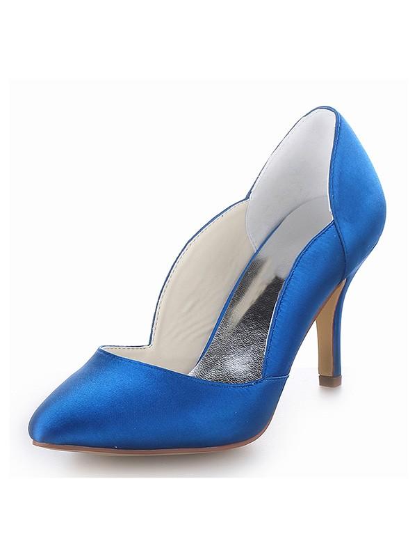 Closed Toe Satin Cone Heel High Heels