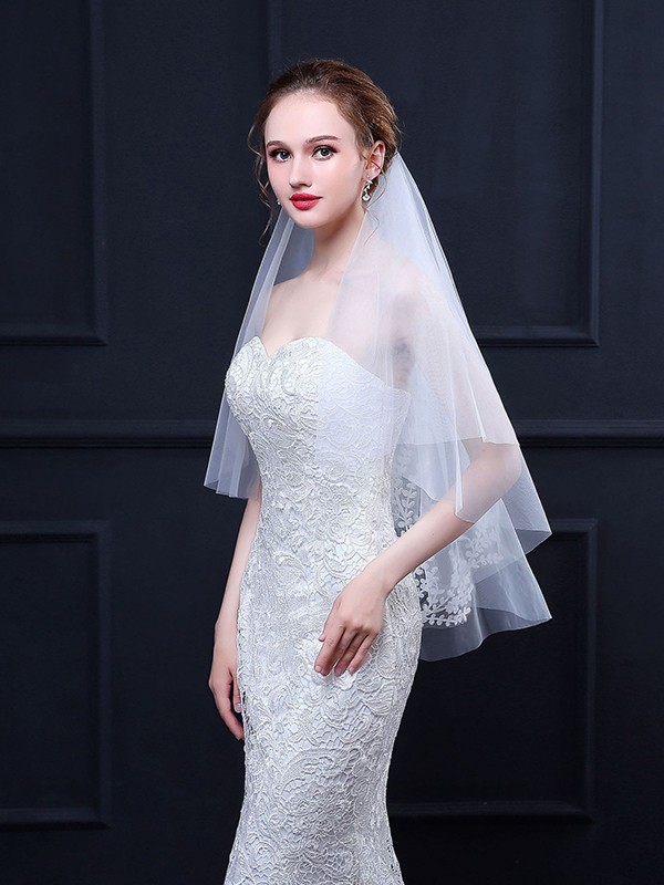 Fancy Tulle With Applique Wedding Veils