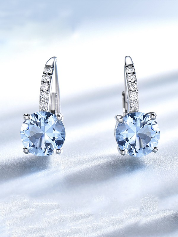 Beautiful 925 Sterling Silver With Gemstone Earrings
