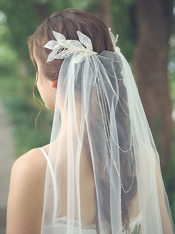Fancy Tulle One-Tier Chapel Bridal Veils With Beading