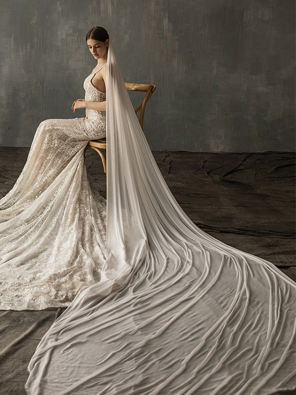 Beautiful Tulle One-Tier Cathedral Bridal Veils