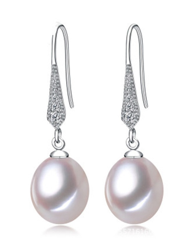 Simple S925 Silver With Pearl Ladies's Earrings