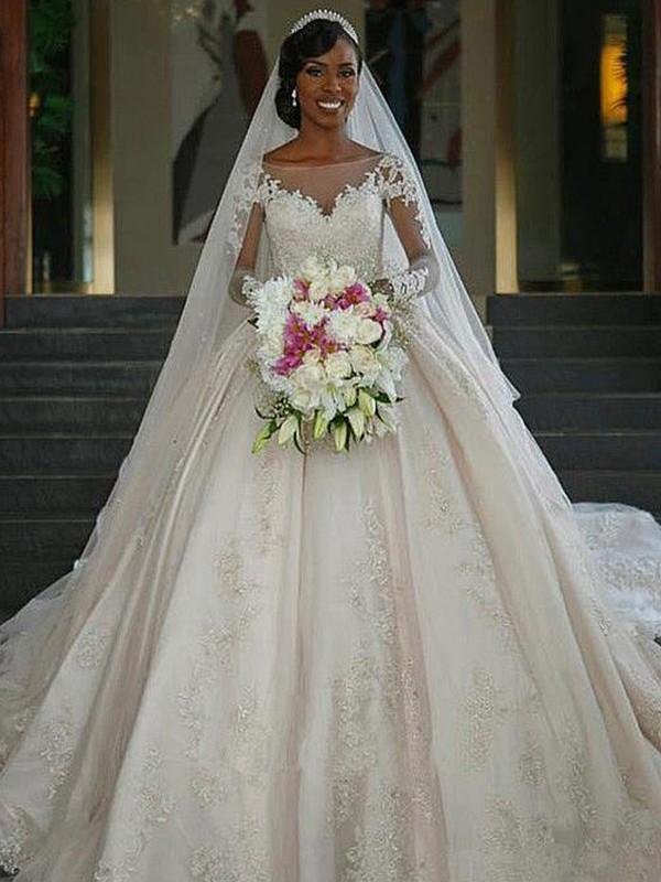Ball Gown Bateau Ivory Long Sleeves Brush Train Applique Satin Wedding Dresses