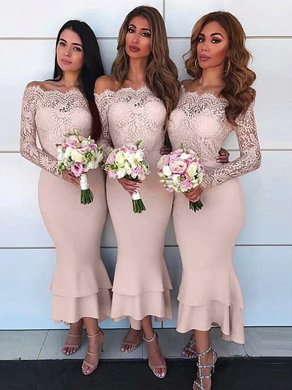 Sheath Off-the-Shoulder Pearl Pink Ankle-Length Lace Chiffon Bridesmaid Dresses