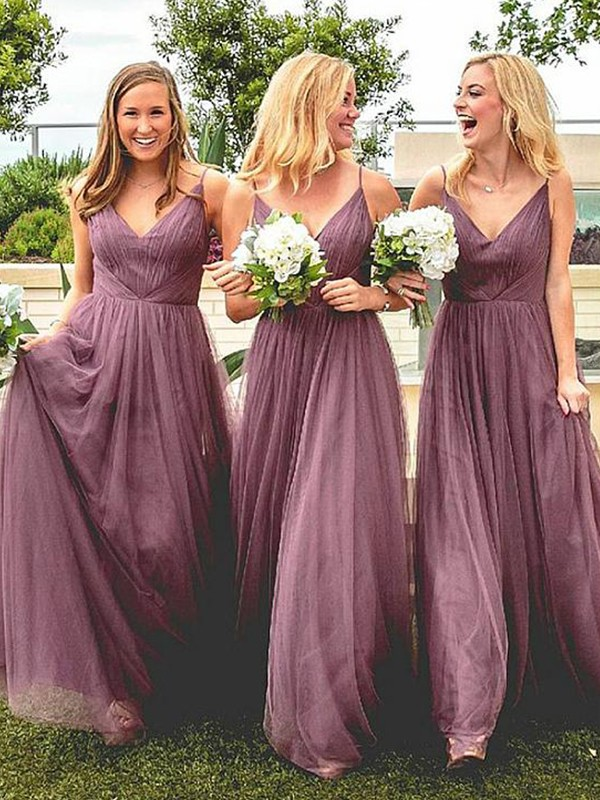 A-Line Spaghetti Straps Floor-Length Ruffles Tulle Bridesmaid Dresses