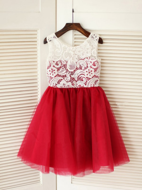 Scoop Knee-Length Red Flower Girl Dresses with Lace