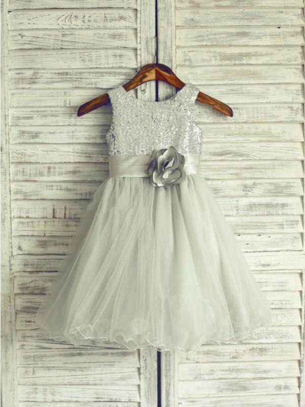 A-Line Scoop Knee-Length Dark Navy Flower Girl Dresses