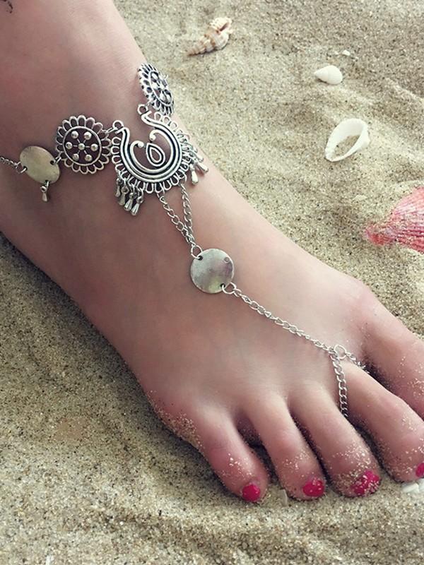 Simple Alloy Flower Hollow Tassel Anklets