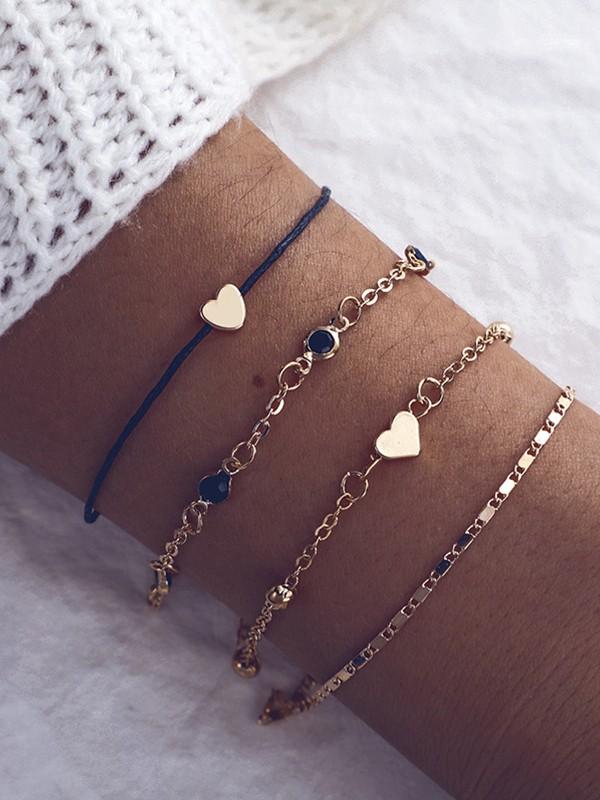 Geometric Peach Heart Metal Bracelets/Anklets(4 pieces)