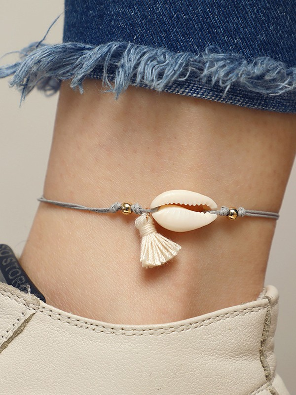 Simple Shell Conch Cotton Anklets