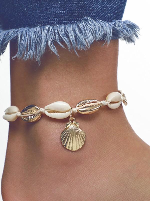 Fashion Geometric Conch Metal Shell Anklets