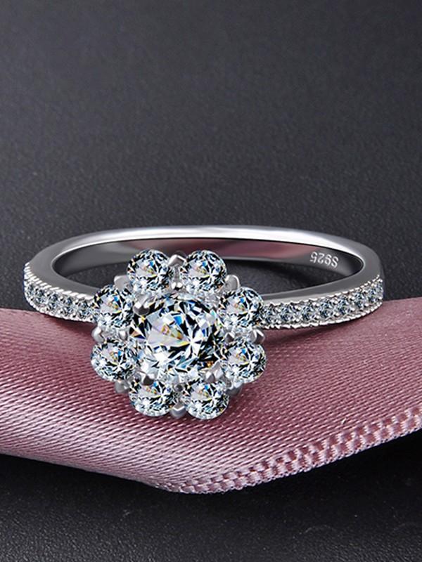 Elegant 925 Sterling Silver With Zircon Wedding Rings