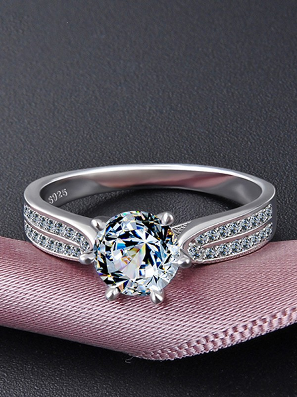 Fancy S925 Silver With Zircon Wedding Rings