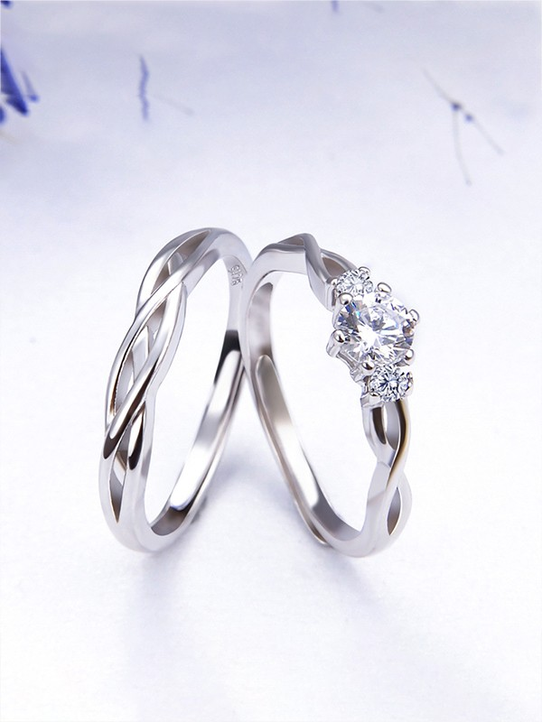 Trending S925 Silver With Zircon Adjustable Couple Rings